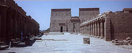 The two colonnade leading to the entrance of the Temple of Isis